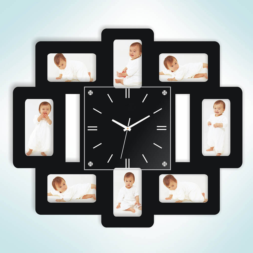 8 photo frame wall clock deal