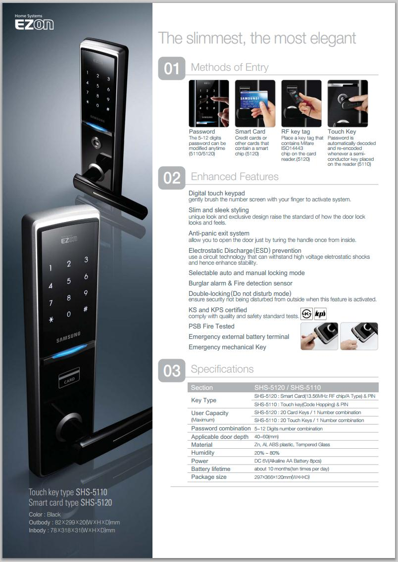 SAMSUNG SHS-5120 DIGITAL DOOR LOCK